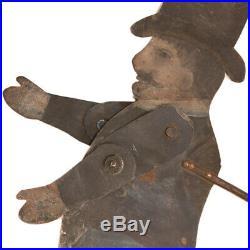 Antique Top Hat Man Tin Toy Jointed Puppet c. 1860s Folk Art Old Paint AAFA
