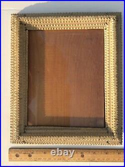 Antique Tramp Art Painted Frame Notched Wood Old Glass Folk Art