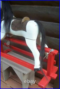 Antique Victorian Folk Art Painted Wood Gliding Rocking Horse Old Primitive Toy