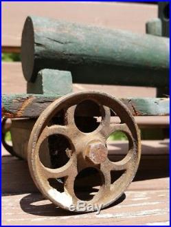 Antique Victorian Homemade Folk Art Toy Train Steam Engine Wood Iron Old Paint