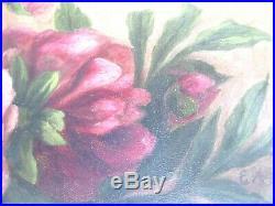 Antique Victorian Orig Oil Painting Folk Art Still Life Floral Country Primitive