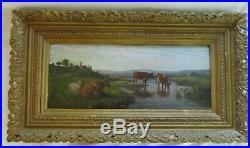 Antique Victorian Original Oil Painting Cows Pasture Country Primitive Folk Art