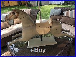 Antique Victorian Wood Painted Toy Rocking Horse Saddle Primitive Folk Art Vtg