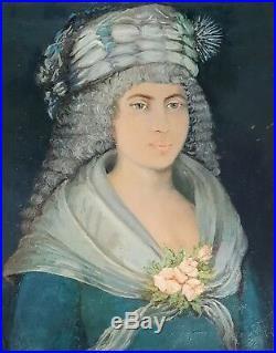 Antique Vintage American Folk Art Fashion Painting Hairdo Diva Girl Room Decor