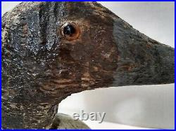 Antique Vintage Estate Hand Carved Wood Painted Folk Art Duck Decoy Glass Eyes