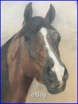 Antique Vintage Folk Art Portrait Of A Horse Equestrian Artist Signed Painting