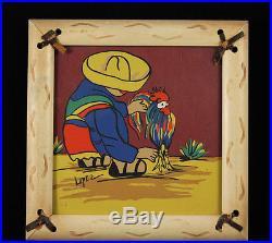 Antique/Vintage Original Mexican Painting Signed Original Frame Folk Art Mexico