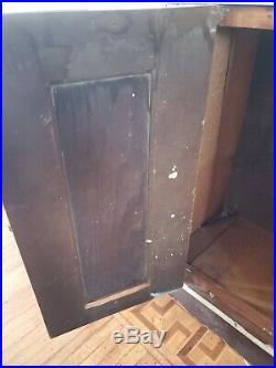 Antique Vintage Primitive Folk Art Medical Wood Painted Cabinet Cupboard