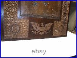 Antique Walnut Folk Art Carved Picture Frame Patriotic Bald Eagle American Flag