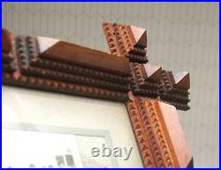 Antique Wood Tramp Folk Art Stacked Picture Frame Criss Cross School Photograph