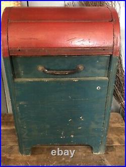 Antique Wooden Folk Art US Mail Postal Letter Drop Box Original Old Paint Nice