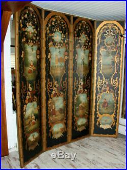 Antique XL French folk art 4 season putti animal Childs hand paint Room screen