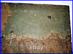 Antique and Original Mexican Retablo Oil Painting ca. 1820 Canvas on Wood Board
