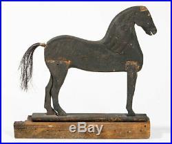 Antique c1860 CARVED WOOD HORSE AAFA BLACK PAINT Provenance/ Folk Art/ Primitive