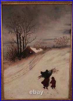 Antique c1880 American Folk Art Oil PaintingMother & ChildWinter Snow Scene