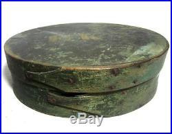 Antique c. 1830 LARGE OVAL PANTRY BOX ORIG PAINT MAINE AAFA Primitive Folk Art
