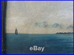 Antique folk Art/ primitive marine painting