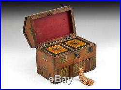 Antique folk art country cottage painted tea caddy circa 1800