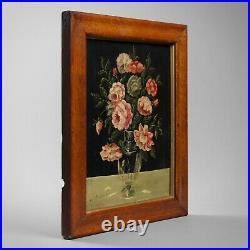 Antique folk art naïve school still life of flowers 19th century