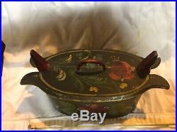 Antique folk art paint decorated brides box signed Miss Gracie Elizabeth, Erie