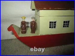 Antique folk art, painted wooden Noah's Ark toy w 20 animals, circa 1900 Europe