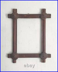 Antique folk art picture frame, tramp art frame, early primitive frame, AAFA