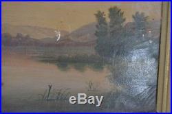 Antique oil canvas painting framed folk art dog boat hunters primitive Americana