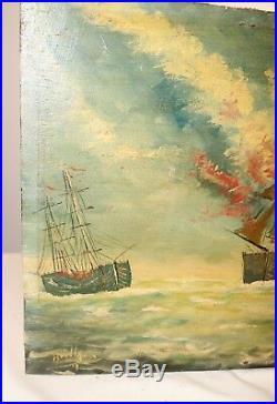 Antique original 1800's Folk Art nautical sea sail ship war oil painting on wood