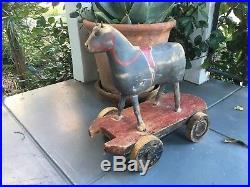 Antique wonderful early orig. Wood painted toy horse amazing folk art AAFA