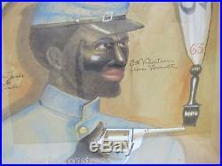 Anton Louis James 3rd Volunteers Outsider Folk Art Watercolor Painting A. Romano