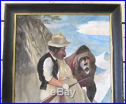 Antonio Romano Signed & Framed Painting Bear Hunter 24x40 Listed Folk Art