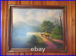 Appalachian Landscape Deer Oil Painting SIGNED LOLA JOINER KENTUCKY ARTIST