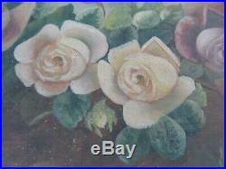 BIG 24 Antique Victorian Oil Painting Country Folk Art Still LIfe Roses Floral