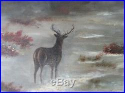BIG 27 ANTIQUE OIL PAINTING Folk Art COUNTRY PRIMITIVE DEER LANDSCAPE CABIN