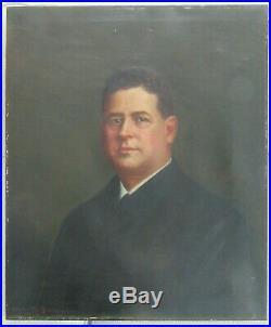 BIG 30 Antique Oil Portrait Man Victorian Original Folk Art Country Primitive