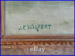 BIG Antique Original Oil Painting Signed Victorian Folk Art Still Life Floral
