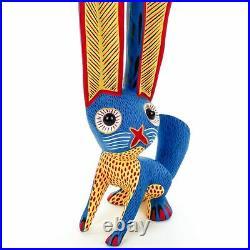 BLUE RABBIT Oaxacan Alebrije Wood Carving Mexican Art Sculpture Painting