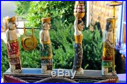 Balinese Melasti Folk Art Statue hand Carved Painted Wood Asian Style Home decor