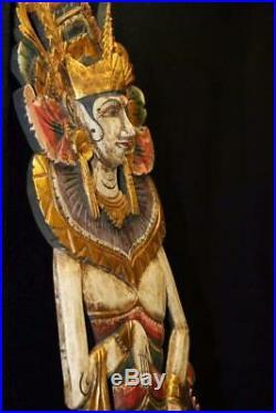 Balinese Mermaid Goddess Wall Panel Hand carved Painted wood Bali folk Art