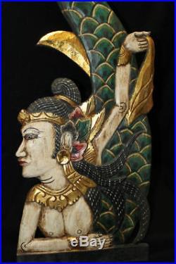 Balinese Mermaid Goddess Wall art Panel Hand Carved Painted Wood Bali folk Left