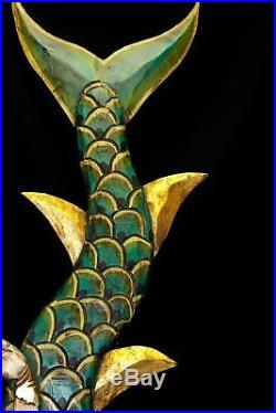 Balinese Mermaid Wall art Panel Hand Carved Painted Wood Bali folk green
