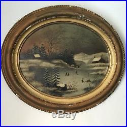 Beautiful Antique Oil Painting Winter Scene Ice Skating American Folk Art 1850