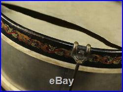 Beautiful Antique Snare Drum Painted Folk Art Leedy withDrumsticks