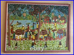 Beautiful Vintage Jacksin Mesidor Haiti Painting Haitian Black Folk Art