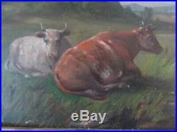 Big Antique 30 Original Oil Painting COWS Country Folk Art FARM BARN RIVER