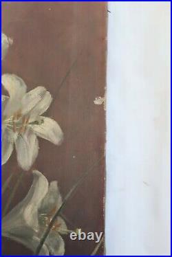 Big Antique Oil Painting Still Life Floral Victorian Country Folk Art Primitive