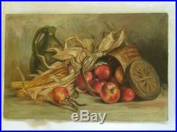 Big Antique Original Oil Painting Picture Victorian Folk Art Still Life Fruit