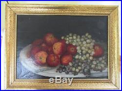 Big Antique Victorian Oil Painting Still Life Frame Folk Art Primitive Country