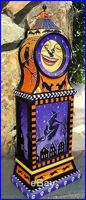 Big Folk art hand painted Halloween clock witch owl black cat moon artist signed