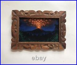 Black Velvet Painting Tiki Volcano Landscape Hand Carved Wood Frame Tiki Bar